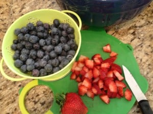 berries prepped for pancakes