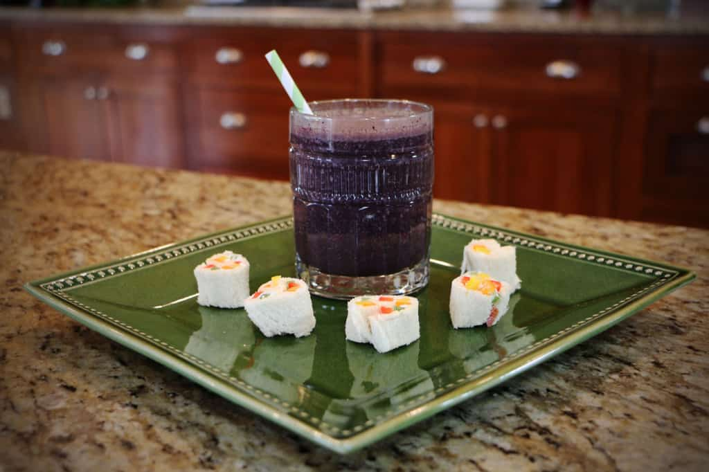 blueberry coconut smoothie and snack sushi