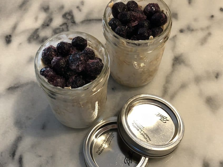 Refrigerator no cook blueberry oatmeal