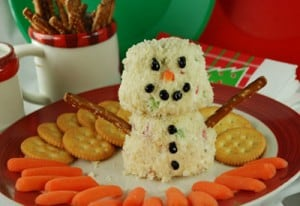 Cooking with Kids - cheese ball gone snowman