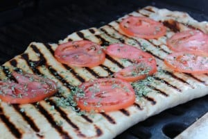 Grilled Pizza with tomatoes and basil