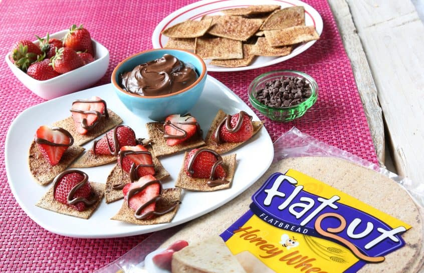 Summer Snack or Dessert with Flatout and strawberries