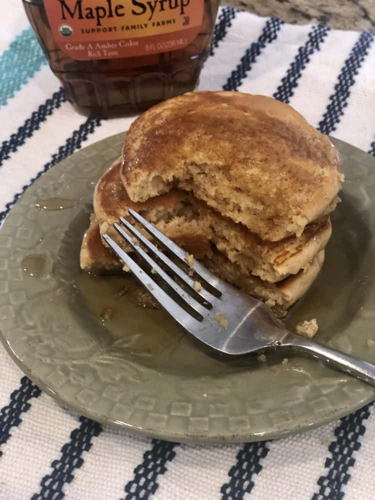 Peanut Butter Maple Syrup Pancakes