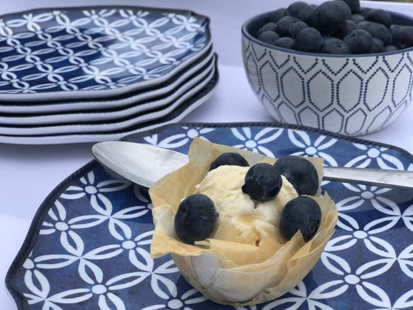 Maple Ice Cream topped with Blueberries