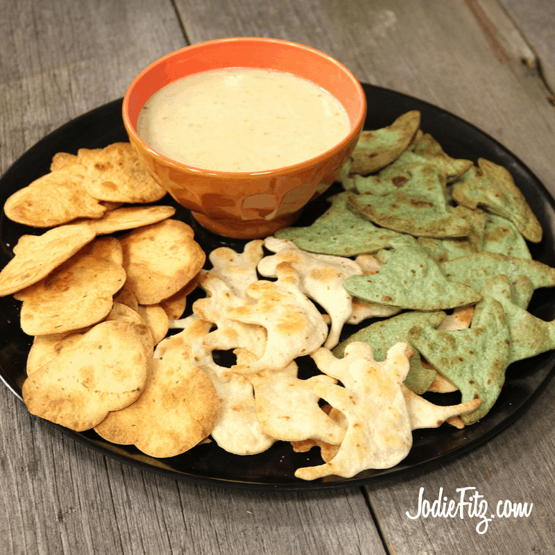 Homemade Chips and Cheesy Dip for Halloween Party Yum