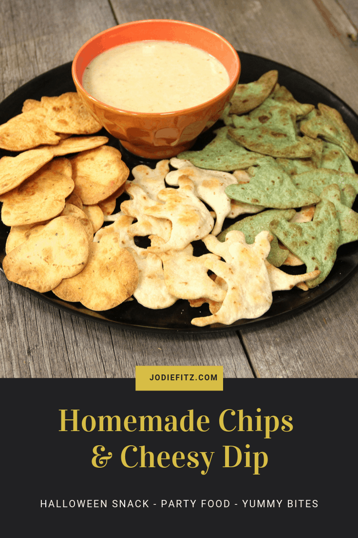 homemade Halloween chips and cheesy dip
