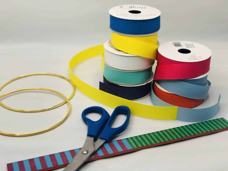Supplies for making ribbon dancing rings