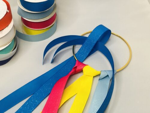 Looping the ribbon for dancing ribbon rings