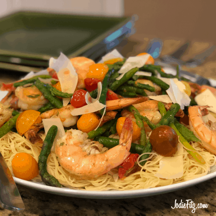 Shrimp and Vegetable Skillet served over angel hair pasta