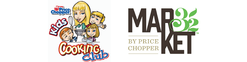 Kids Cooking Club logo next to Market 32 logo