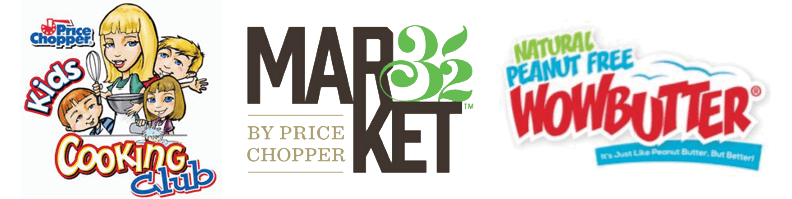 Kids Cooking Club, Market 32 by Price Chopper, and Wow Butter logos