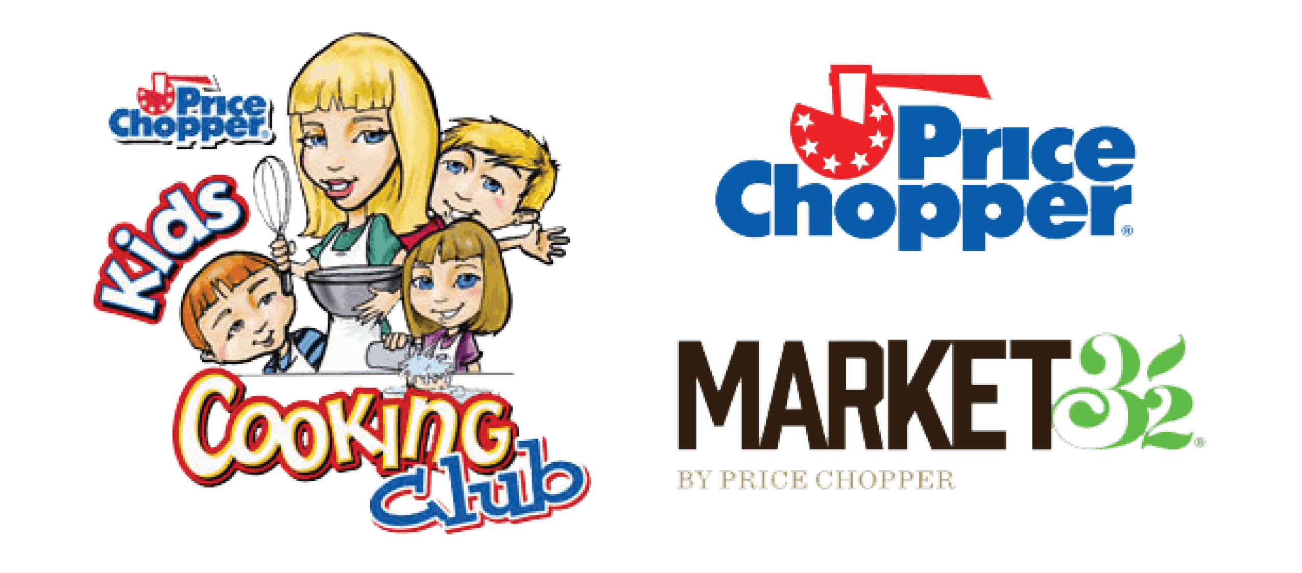 Price Chopper Kids Cooking Club logo next to Price Chopper and Market 32 logos