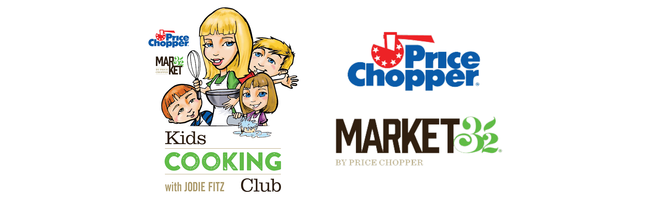 Kids Cooking Club logo next to Price Chopper Market 32 logo