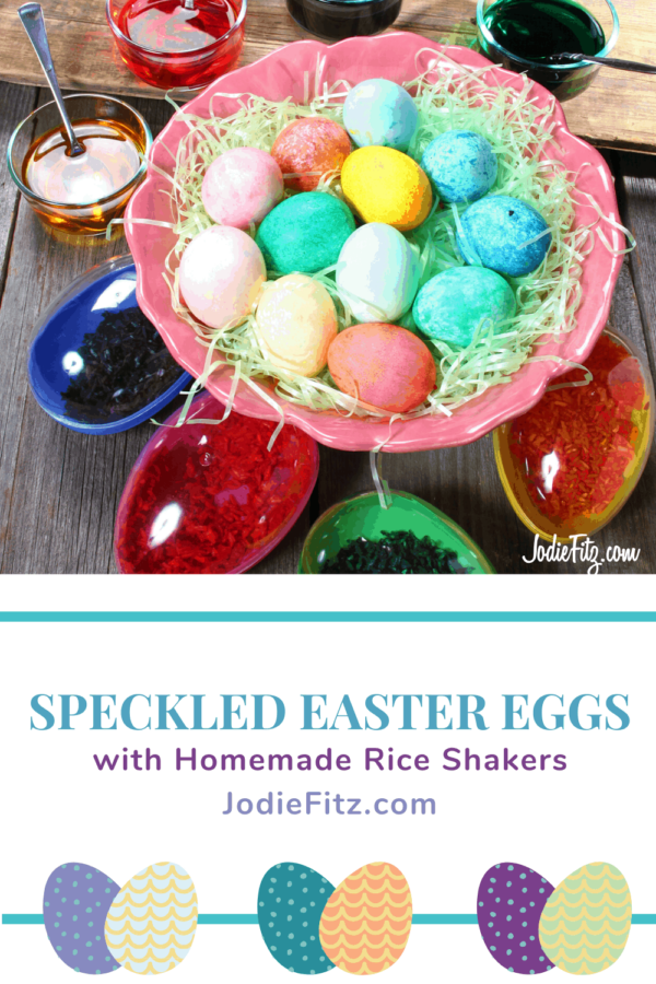 Making speckled eggs with homemade rice shakers #eastereggs #eggdecorating #riceshakers