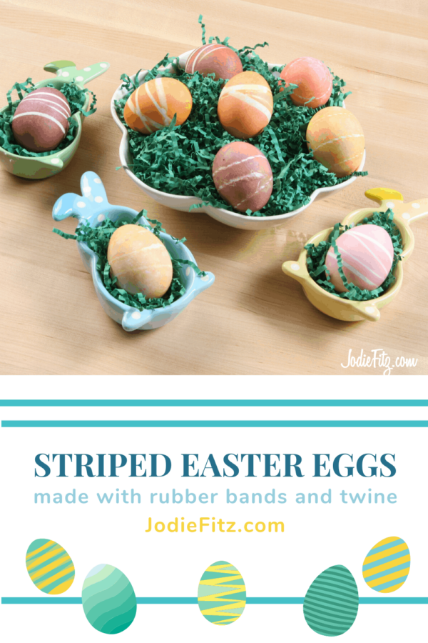 Creating Striped Easter Eggs with Rubber Bands and Twine #eastereggs #decorating #eggs