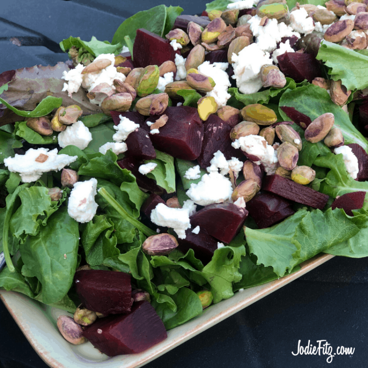 Easy beet and goat cheese salad with layered flavor.