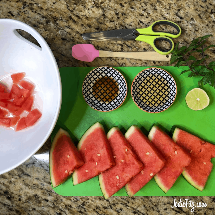 Watermelon Salad made with honey, lime and mint is refreshing and light. This watermelon recipe is perfect for summer entertaining.