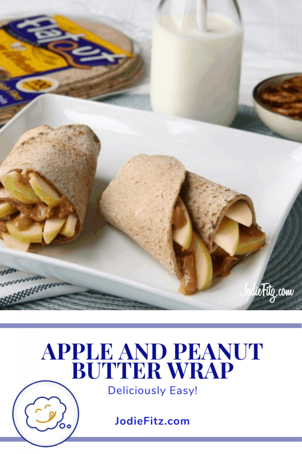 Apple and peanut butter wrap made with fresh apples and peanut butter in a whole grain wrap for lunch