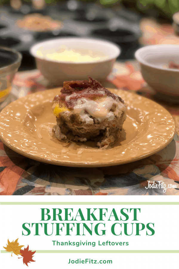 Stuffing formed into a muffin cup filled with baked egg, sharp cheese and bacon for a Thanksgiving leftover breakfast