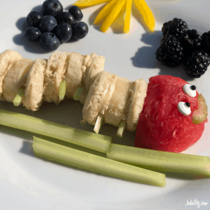 circular sandwich bites made with banana and peanut butter compiled in the shape of a caterpillar body with a watermelon head