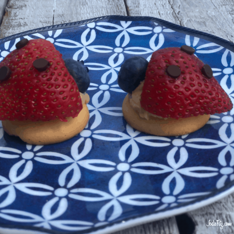A blue and white patterned plate with two lady bugs made out of strawberries, mini chocolate chips, blueberries and wafer cookies